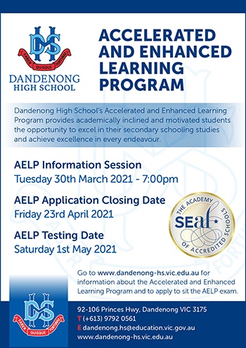 Book your place at Dandenong High School's AELP Information Session