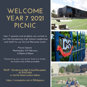 Year 7 families are invited to our Year 7 Welcome Picnic at Dandenong High School